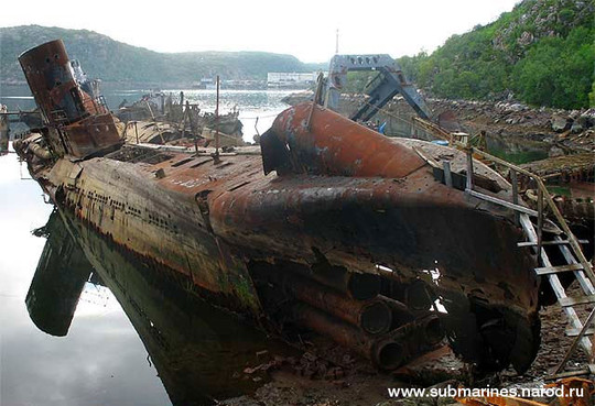 There may actually be some submarine left somewhere amongst the rust.
