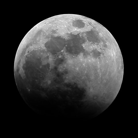 Partially eclipsed Moon on night of 3rd March 2007