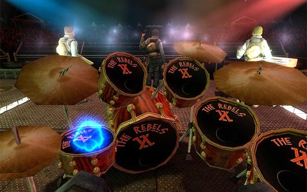 Baxayaun's virtual drum simulator in Source. I love the Rebels band logo.